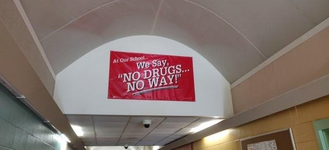 """Ceiling - At Qur School.. We Say, """"NO DRUGS... NO WAY!"""""""