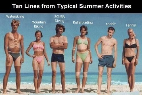 Meme - Tan Lines from Typical Summer Activities Waterskiing SCUBA Diving Mountain Rollerblading reddit Tennis Biking