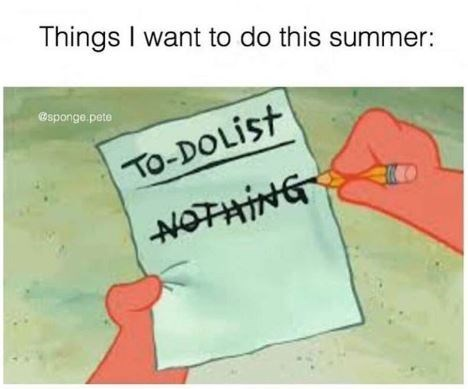 Meme - Text - Things I want to do this summer: sponge.pete TO-DOLIST NOTHING