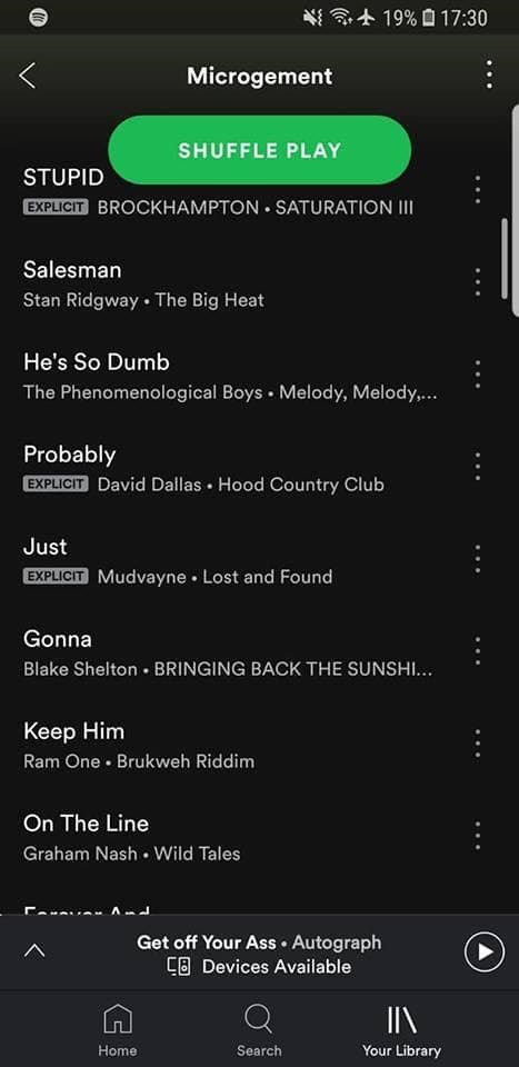 Text - 然沙十19%口17:30 Microgement SHUFFLE PLAY STUPID EXPLICIT BROCKHAMPTON SATURATION II Salesman Stan Ridgway The Big Heat He's So Dumb The Phenomenological Boys Melody, Melody,.. Probably EXPLICIT David Dallas Hood Country Club Just EXPLICIT Mudvayne Lost and Found Gonna Blake Shelton BRINGING BACK THE SUNSHI... Keep Him Ram One Brukweh Riddim On The Line Graham Nash Wild Tales Get off Your Ass Autograph C Devices Available Home Search Your Library GE