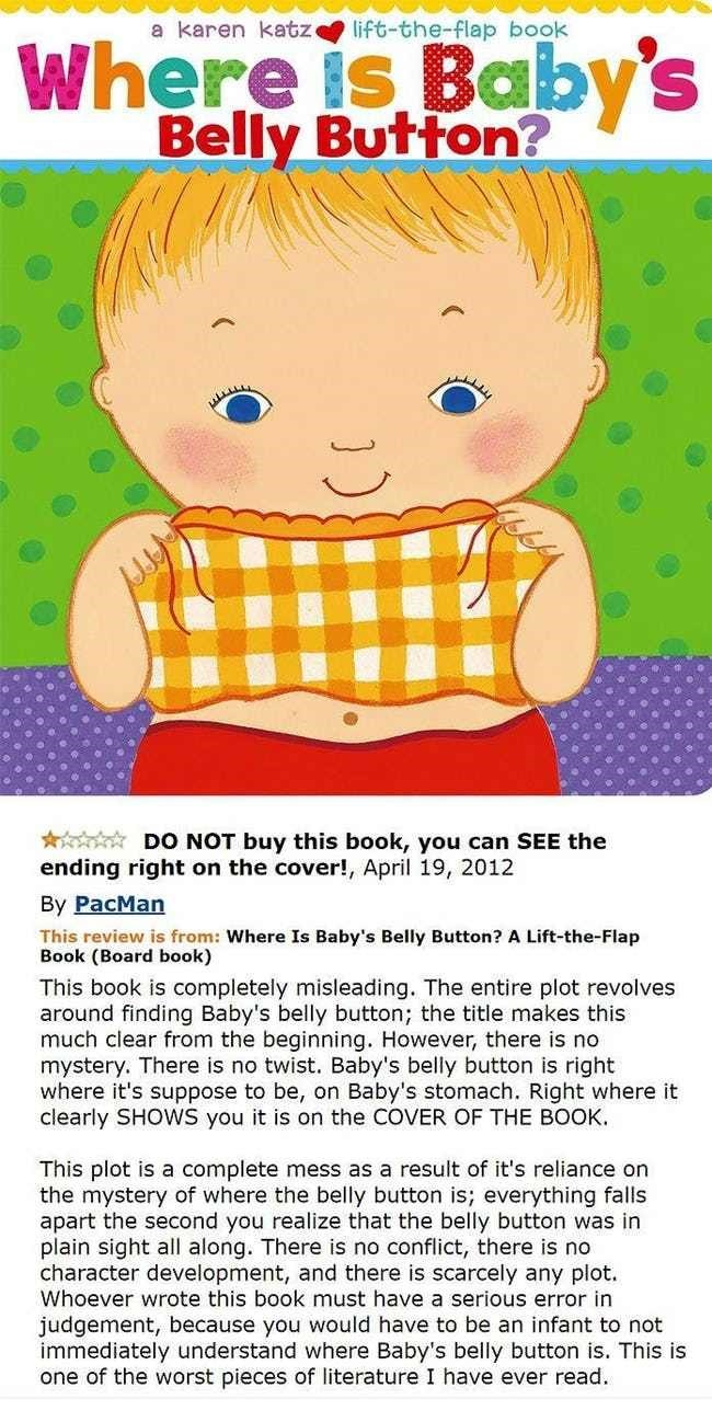 amazon review - Cartoon - a karen katz lift-the-flap book Belly Button? DO NOT buy this book, you can SEE the ending right on the cover!, April 19, 2012 By PacMan This review is from: Where Is Baby's Belly Button? A Lift-the-Flap Book (Board book) This book is completely misleading.. The entire plot revolves around finding Baby's belly button; the title makes this much clear from the beginning. However, there is no mystery. There is no twist. Baby's belly button is right where it's suppose to be