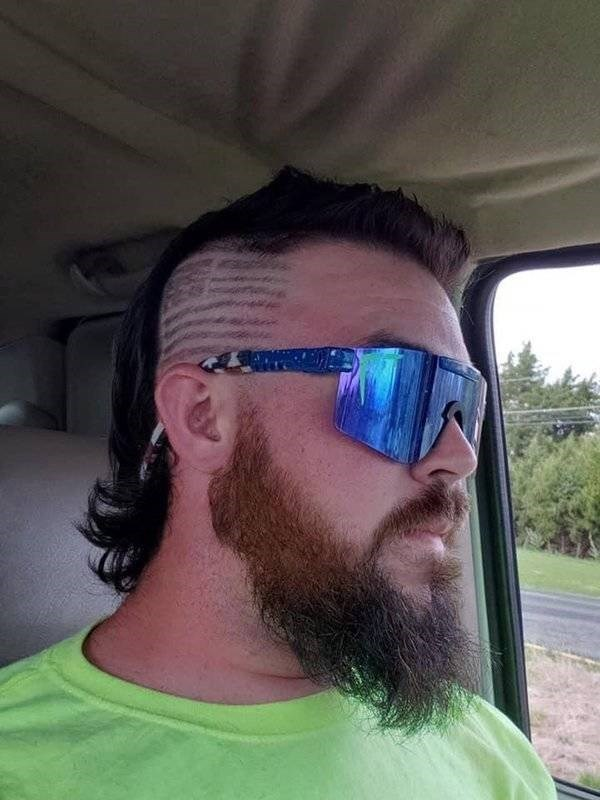 Eyewear and american flag hairstyle