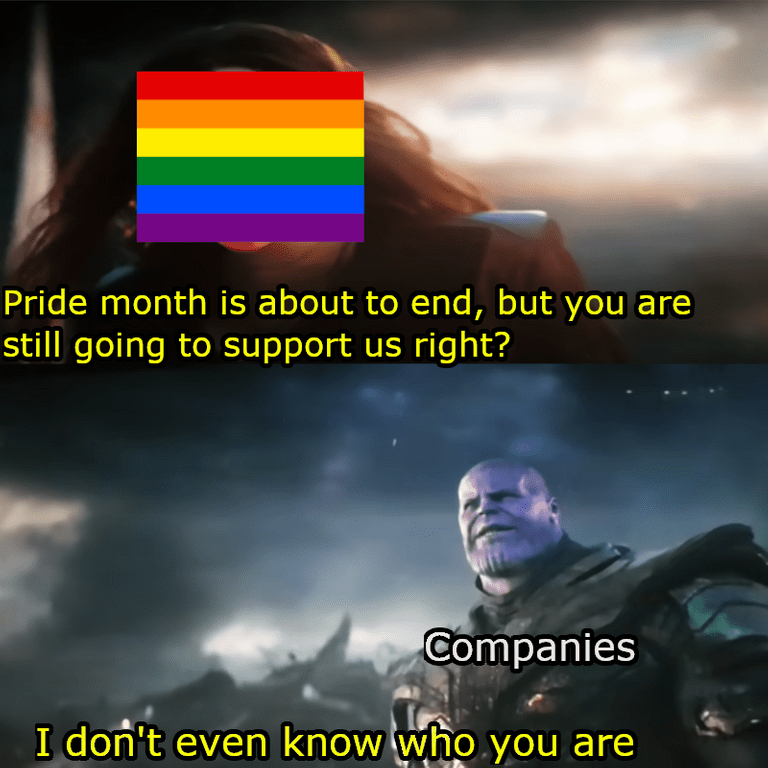Meme - Sky - Pride month is about to end, but you are still going to support us right? Companies I don't even know who you are