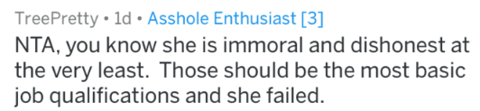 Text - TreePretty 1d Asshole Enthusiast [3] NTA, you know she is immoral and dishonest at the very least. Those should be the most basic job qualifications and she failed