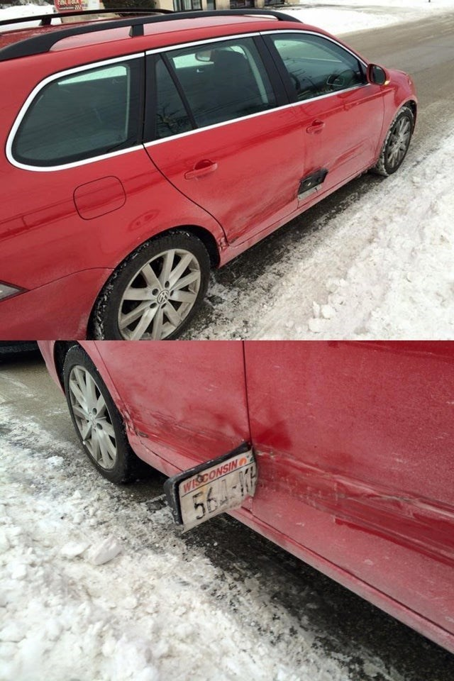 hit and run that left their license plate as evidence