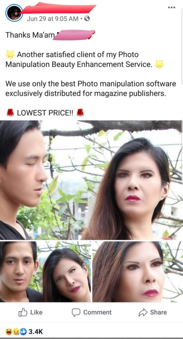 Face - Jun 29 at 9:05 AM Thanks Ma'am Another satisfied client of my Photo Manipulation Beauty Enhancement Service only the best Photo manipulation software exclusively distributed for magazine publishers. We use LOWEST PRICE!! Like Share Comment 3.4K