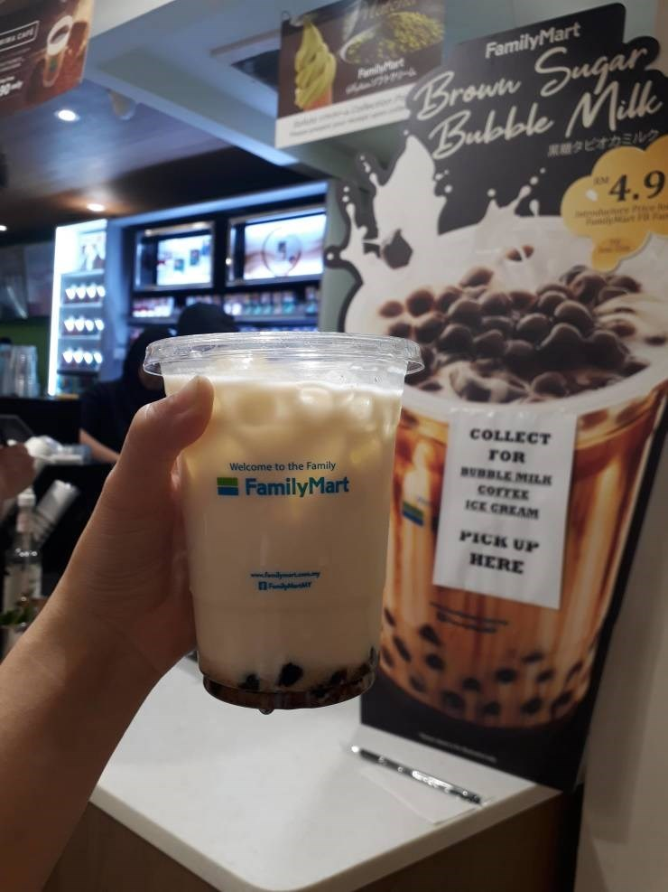 Drink - CA Broun Sugar Bubobole Milk FamilyMart milyt 業競タビオカミルク 4.9 P MatF COLLECT FOR BUDLE MILK corTEE ICE CREAM Welcome to the Family FamilyMart PICK UP HERE w.ily