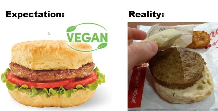 Funny picture - Food - Reality: Expectation: vegan burger