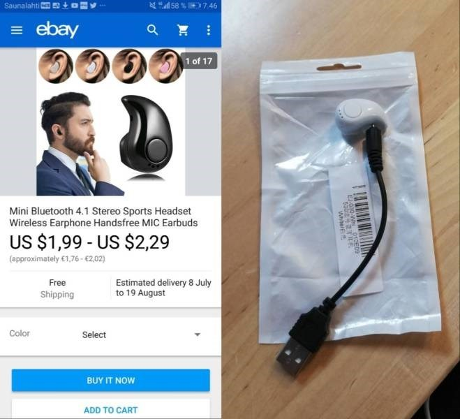 Funny picture - Usb cable - Saunalahti 58% E7.46 ebay 1 of 17 Mini Bluetooth 4.1 Stereo Sports Headset Wireless Earphone Handsfree MIC Earbuds US $1,99 - US $2,29 (approximately €1,76-2,02) Estimated delivery 8 July to 19 August Free Shipping Color Select BUY IT NOW ADD TO CART EU 01DE09 Whiter