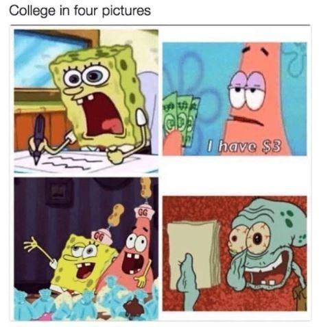 Meme - College in four pictures - Spongebob