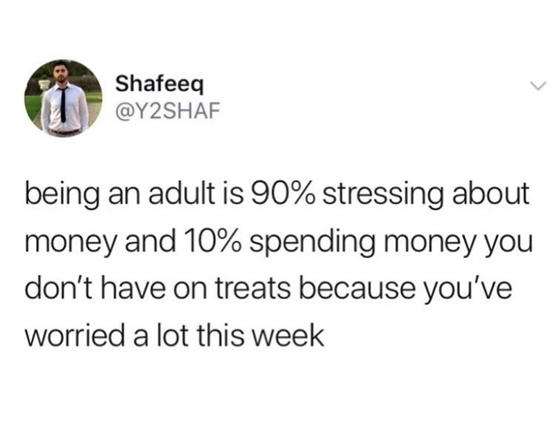 Meme - Text - Shafeeq @Y2SHAF being an adult is 90% stressing about money and 10% spending money you don't have on treats because you've worried a lot this week