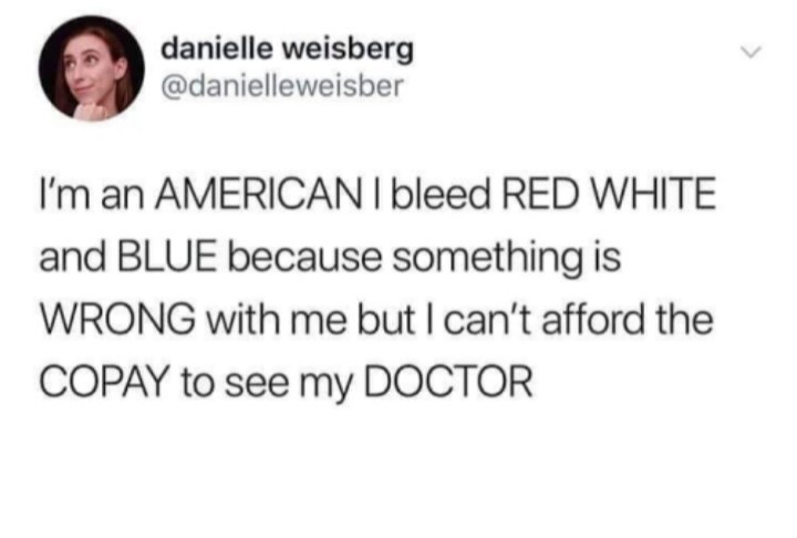 Meme - Text - danielle weisberg @danielleweisber I'm an AMERICANI bleed RED WHITE and BLUE because something is WRONG with me but I can't afford the COPAY to see my DOCTOR