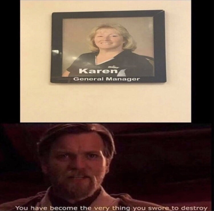 Meme - Text - Karen General Manager You have become the very thing you swore to destroy
