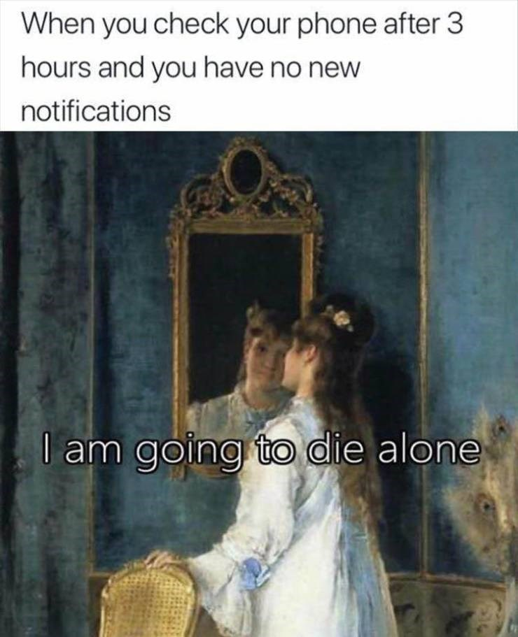 Meme - Text - When you check your phone after 3 hours and you have no new notifications am going to die alone