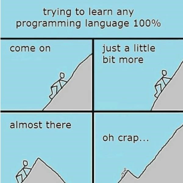 Meme - Text - trying to learn any programming language 100% just a little bit more come on almost there oh crap...