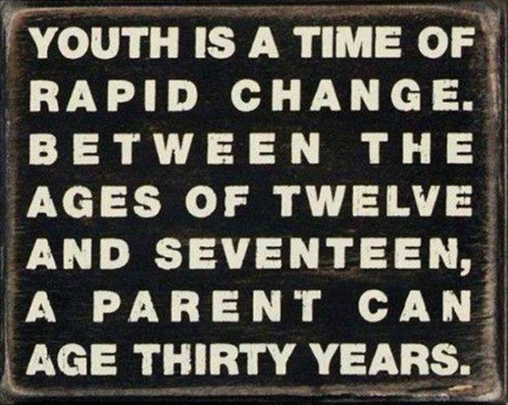 Meme - Font - YOUTH IS A TIME OF RAPID CHANGE. BETWEEN THE AGES OF TWELVE AND SEVENTEEN, A PARENT CAN AGE THIRTY YEARS.