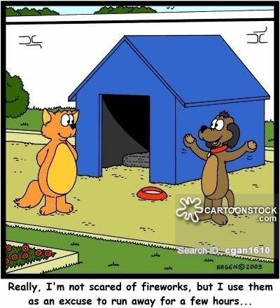 july 4th dogs - Cartoon - SCARTOONSTOCK .com Search-Dcgan1610 HAGENO 2009 Really, I'm not scared of fireworks, but I use them an excuse to run away for a few hours... H
