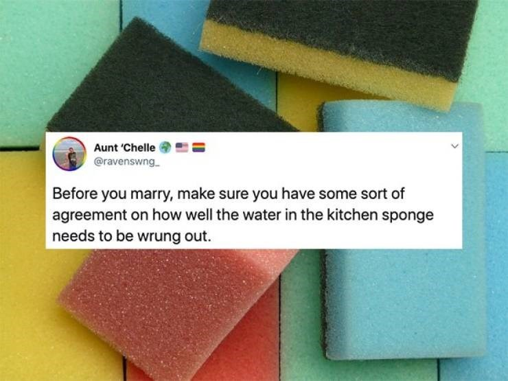Sponge - Aunt 'Chelle @ravenswng Before you marry, make sure you have some sort of agreement on how well the water in the kitchen sponge needs to be wrung out