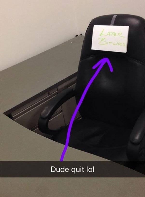 funny quit job - Purple - LATER BITCHES Dude quit lol