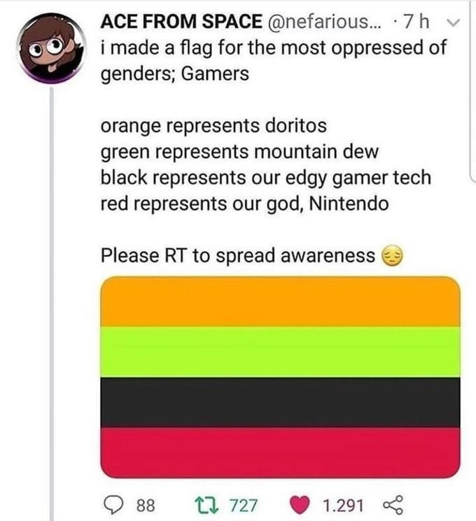 Text - ACE FROM SPACE @nefarious... 7h i made a flag for the most oppressed of genders; Gamers orange represents doritos green represents mountain dew black represents our edgy gamer tech red represents our god, Nintendo Please RT to spread awareness t 727 88 1.291