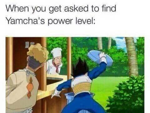 dragon ball z meme - Cartoon - When you get asked to find Yamcha's power level: