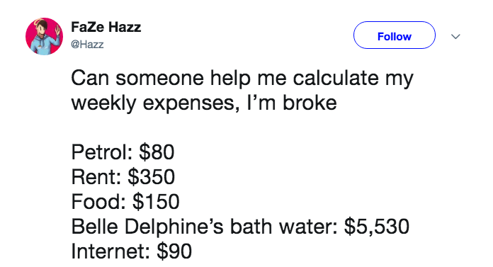 Text - FaZe Hazz Follow @Hazz Can someone help me calculate my weekly expenses, I'm broke Petrol: $80 Rent: $350 Food: $150 Belle Delphine's bath water: $5,530 Internet: $90