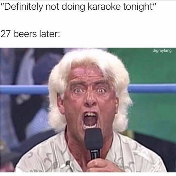 "meme - Facial expression - ""Definitely not doing karaoke tonight"" 27 beers later: drgrayfang"