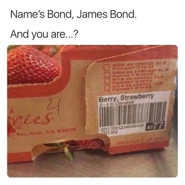 meme - Food - Name's Bond, James Bond. And you are...? PUNNETDTEMS T0149) 4L9 Berry,Strawberry 2-4 b Clamshell ries (01) 108 12049005406 877 Z0 632 SALINAS, CA 93906 PRODUCT CF US