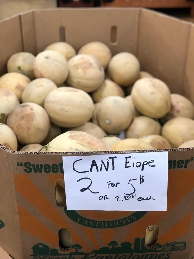 """spelling mistake - Food - """"Sweet CANT Elope mer For OR 2.S0 each CANTALOUPES Prntal Knes"""