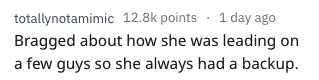 dating red flag - Text - totallynotamimic 12.8k points 1 day ago Bragged about how she was leading on a few guys so she always had a backup