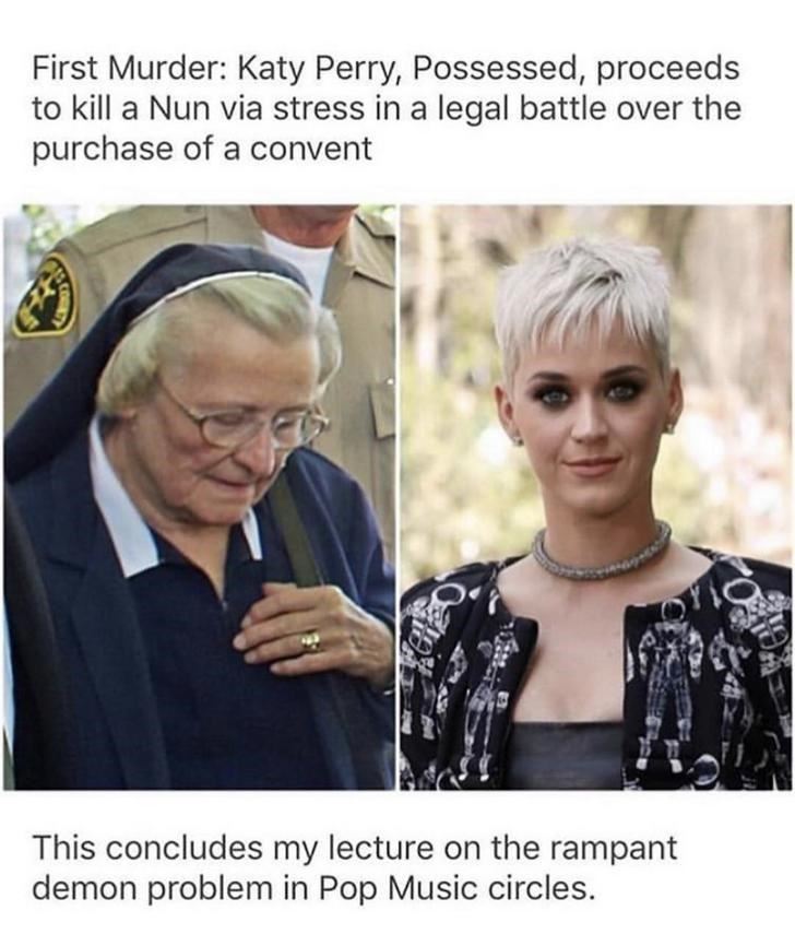 2 panel picture - nun in blue nun outfit on one side and katy perry with short blonde hair