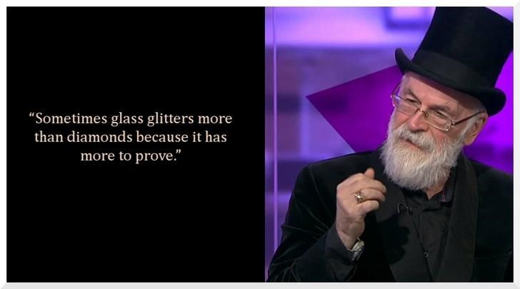 "Text - ""Sometimes glass glitters more than diamonds because it has more to prove."""