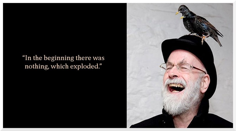 "Terry Pratchett quote - Bald eagle - ""In the beginning there was nothing, which exploded."""