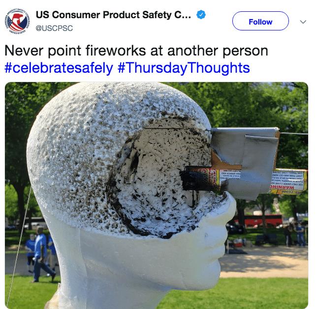 Rock - US Consumer Product Safety C... Follow @USCPSC TERINS Never point fireworks at another person #celebratesafely #ThursdayThoughts ONINNRA oenr-a
