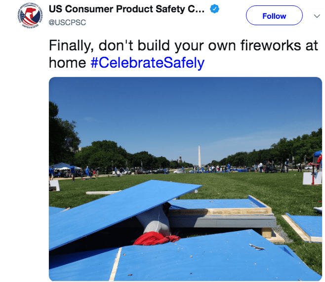 Technology - US Consumer Product Safety C... Follow @USCPSC Finally, don't build your own fireworks at home #CelebrateSafely