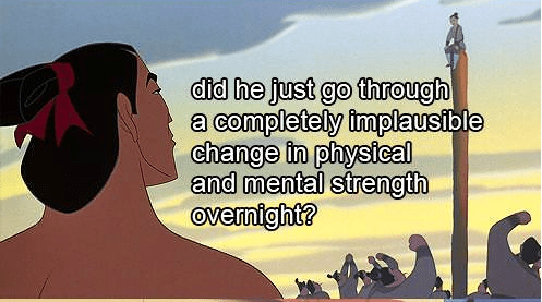 Funny Picture - Text - did he just go through a completely implausible change in physical and mental strength Ovemight?