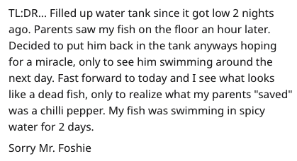 """spicy fish - Text - TL:DR... Filled up water tank since it got low 2 nights ago. Parents saw my fish on the floor an hour later. Decided to put him back in the tank anyways hoping for a miracle, only to see him swimming around the next day. Fast forward to today and I see what looks like a dead fish, only to realize what my parents """"saved"""" was a chilli pepper. My fish was swimming in spicy water for 2 days. Sorry Mr. Foshie"""