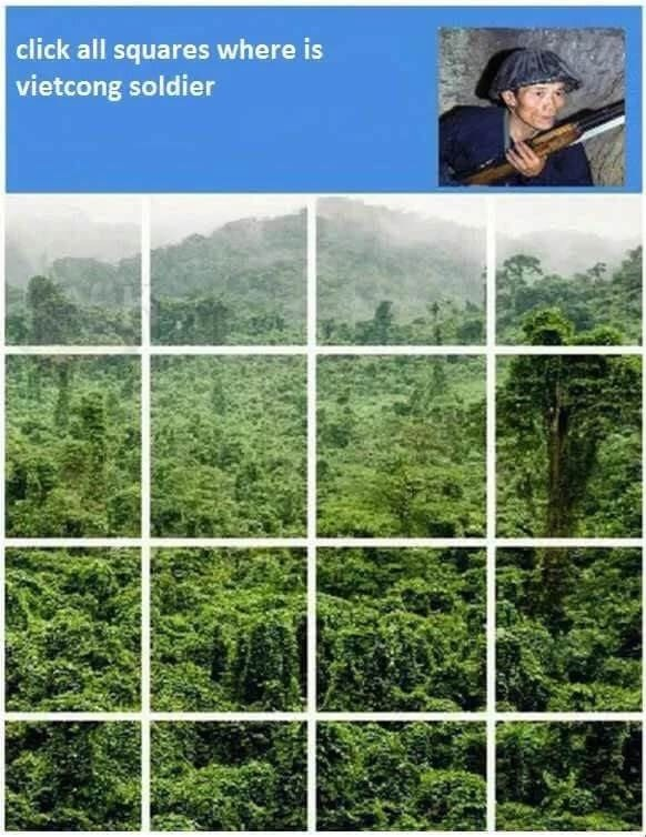 Meme - Vegetation - click all squares where is vietcong soldier