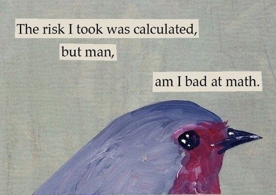 Meme - Bird - The risk I took was calculated, but man, am I bad at math.