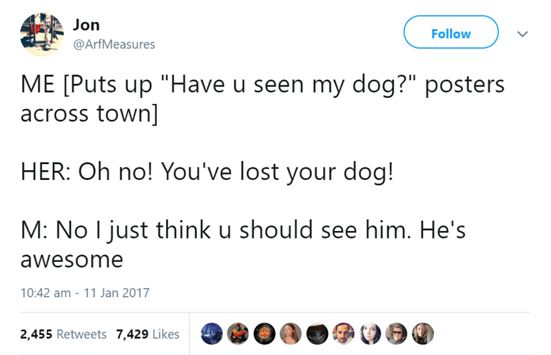 """animal tweet - Text - Jon Follow @ArfMeasures ME [Puts up """"Have u seen my dog?"""" posters across town] HER: Oh no! You've lost your dog! M: No I just think u should see him. He's awesome 10:42 am - 11 Jan 2017 2,455 Retweets 7,429 Likes"""