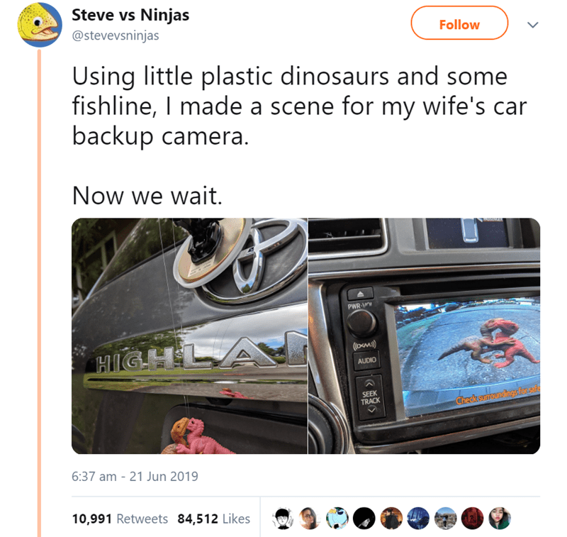 animal tweet - Electronics - Steve vs Ninjas @stevevsninjas Follow Using little plastic dinosaurs and some fishline, I made a scene for my wife's car backup camera. Now we wait PWR-O HIGHL ((omi) AUDIO SEEK TRACK Check suroundings fon safe 6:37 am - 21 Jun 2019 10,991 Retweets 84,512 Likes