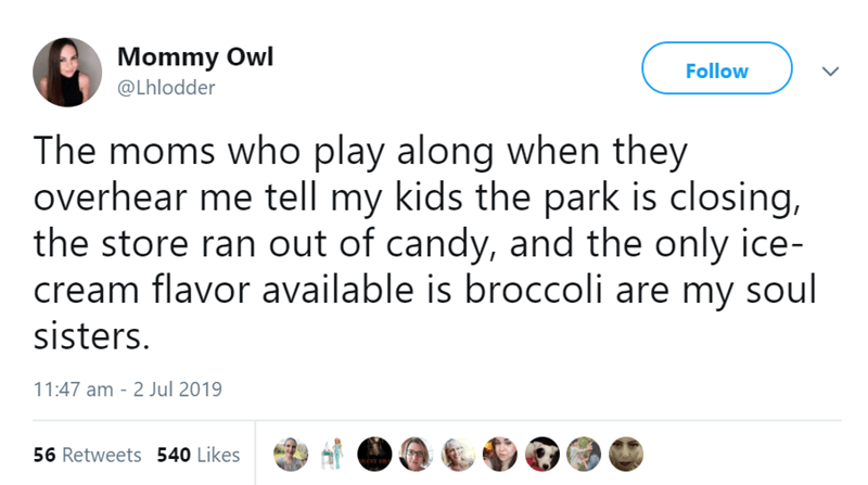 Text - Mommy Owl Follow @Lhlodder The moms who play along when they overhear me tell my kids the park is closing, the store ran out of candy, and the only ice- cream flavor available is broccoli are my soul sisters. 11:47 am 2 Jul 2019 56 Retweets 540 Likes ENT