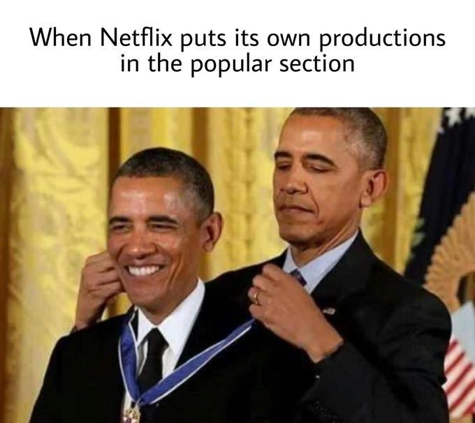 Meme - Facial expression - When Netflix puts its own productions in the popular section