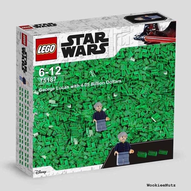 meme - Green - (EGO STAR |LEGO ARS 6-12 75187 100 George Lucas with 4.05 Billion Dollars nde opI DENEP WookieeNutz LEGO 75233