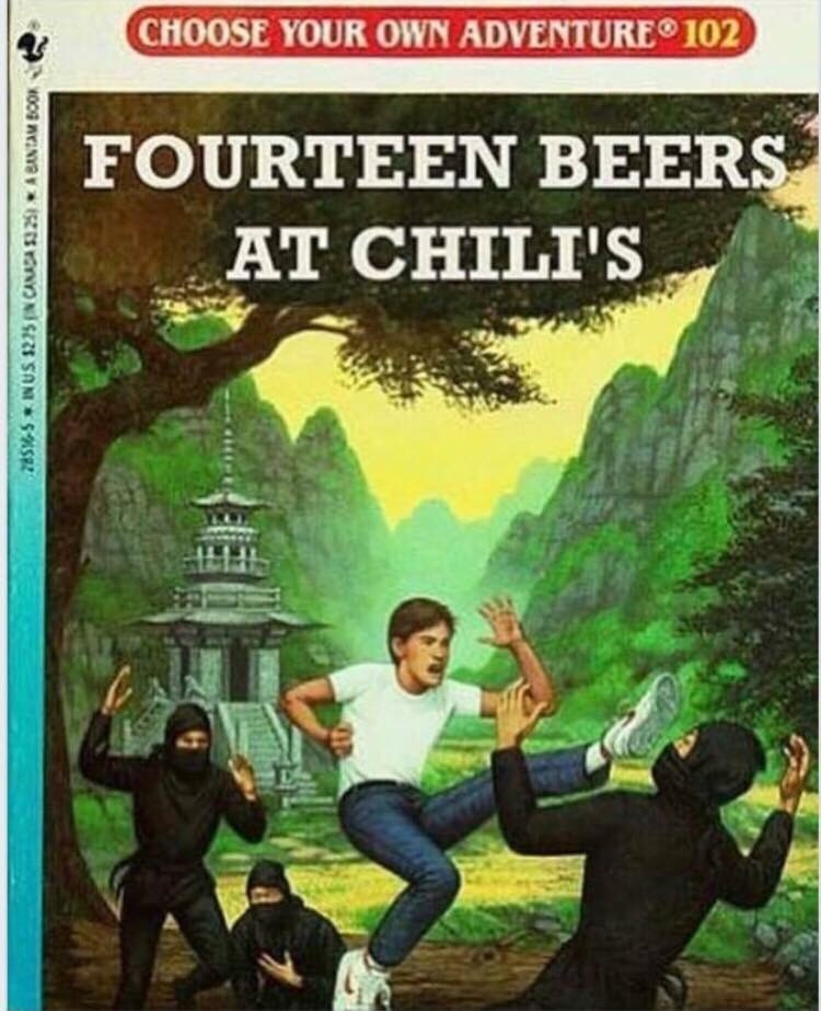 meme - Action-adventure game - CHOOSE YOUR OWN ADVENTURE 102 FOURTEEN BEERS AT CHILI'S 28S-S INUS $225 CANADA 325A BANTAM B0O