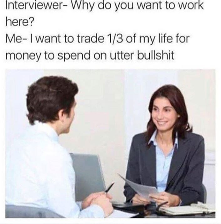 Meme - Job - Interviewer- Why do you want to work here? Me-I want to trade 1/3 of my life for money to spend on utter bullshit