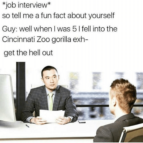 Meme - Job - *job interview* so tell me a fun fact about yourself Guy: well when I was 5 I fell into the Cincinnati Zoo gorilla exh- get the hell out