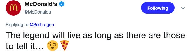 screenshot of mcdonalds replying to seth rogan on twitter