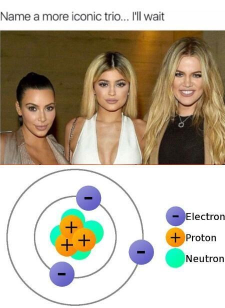 Meme - chemistry - Name a more iconic trio... 'll wait Electron Proton Neutron