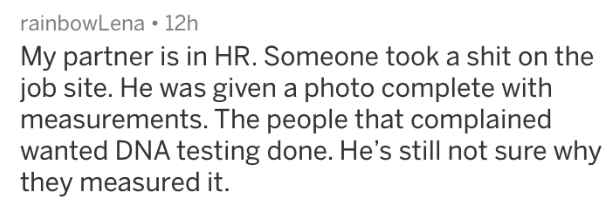 HR complaint - Text - rainbowLena 12h My partner is in HR. Someone took a shit on the job site. He was given a photo complete with measurements. The people that complained wanted DNA testing done. He's still not sure why they measured it.